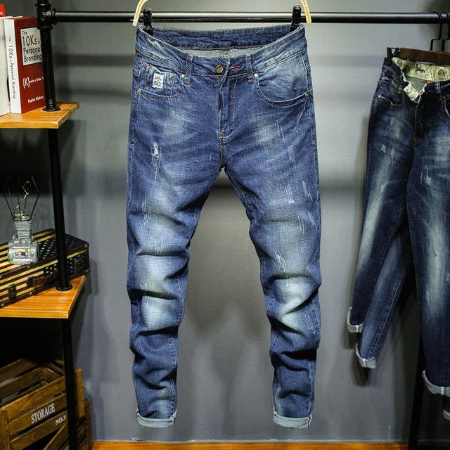 New Men's Straight Slim Jeans Stretch Casual Feet Denim Trousers