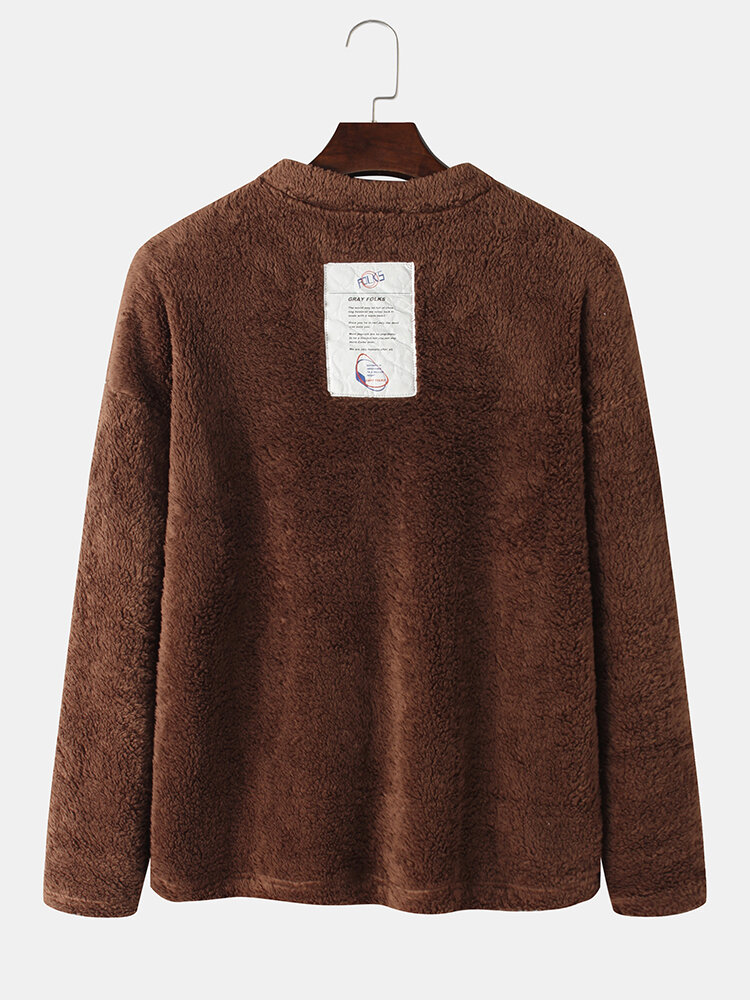 Mens Solid Color Plush Warm Thick Round Neck Pullover Sweatshirt