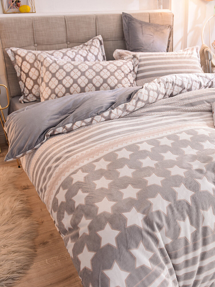 4Pcs Floral Overlay Print Three-dimensional 6D Carved Velvet Comfy Bedding Thickened Winter Warmth Double Milk Velvet Quilt Cover
