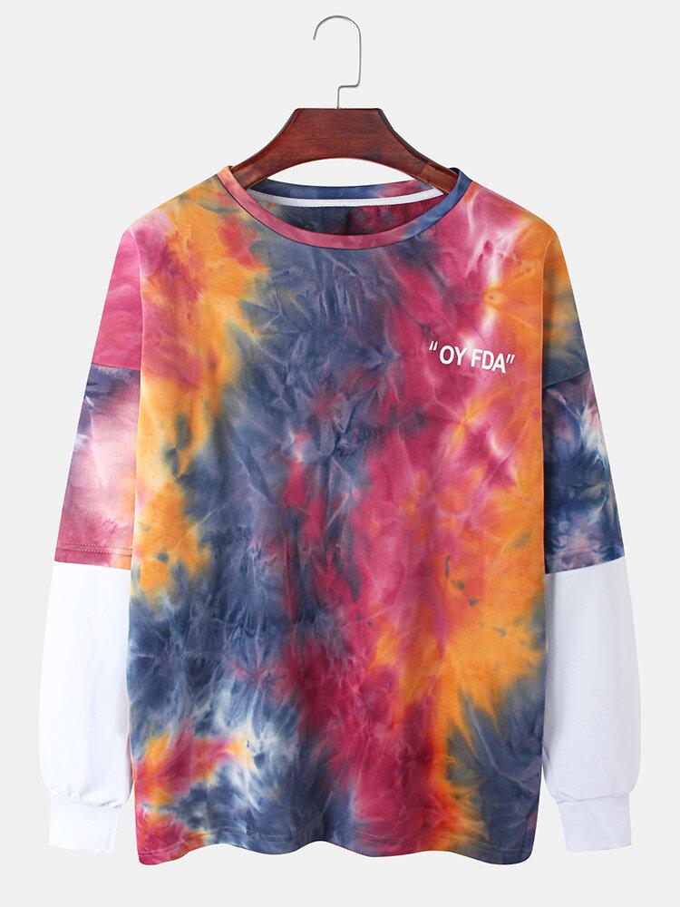 Mens Cotton Tie-Dye Faux Twinset Round Neck Long Sleeve Sweatshirt
