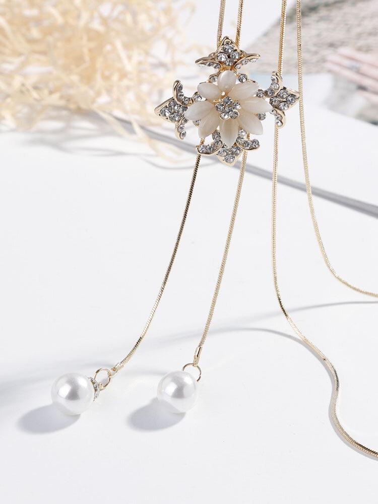 Trendy Pearl Pendant Tassel Necklaces for Women Luxury Opal Rhinestone Flower Cross Long Necklaces