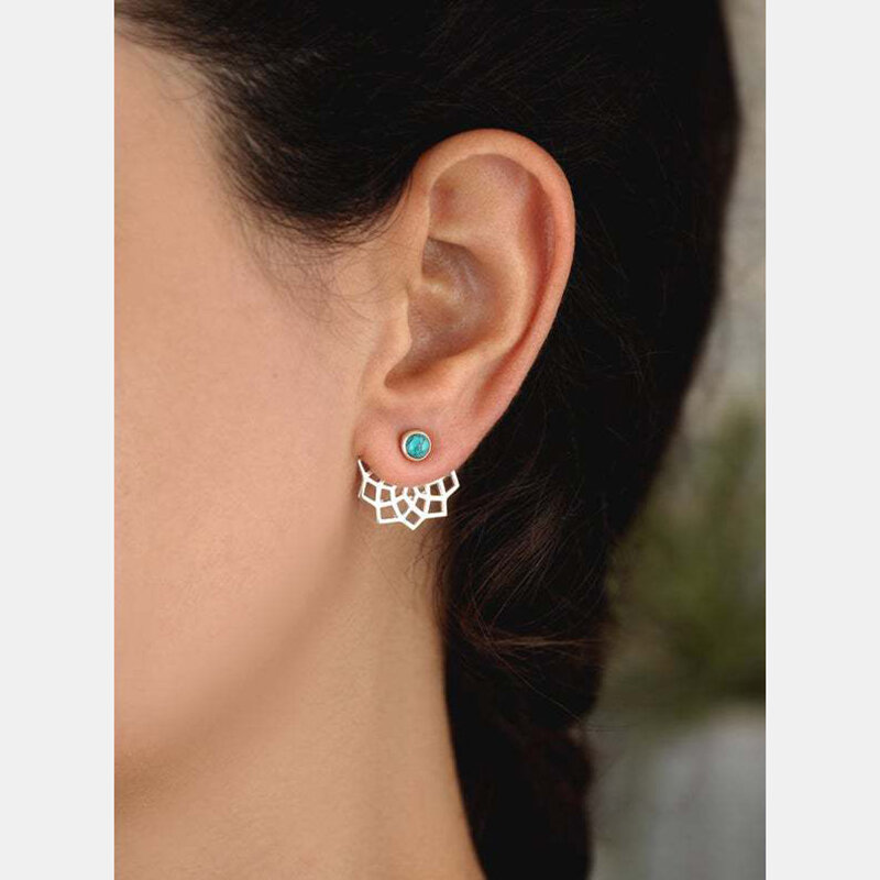 Bohemian Turquoise Silver Plated Ear Stud Front Rear Combination Dual-Use Water Hibiscus Pendant Earrings