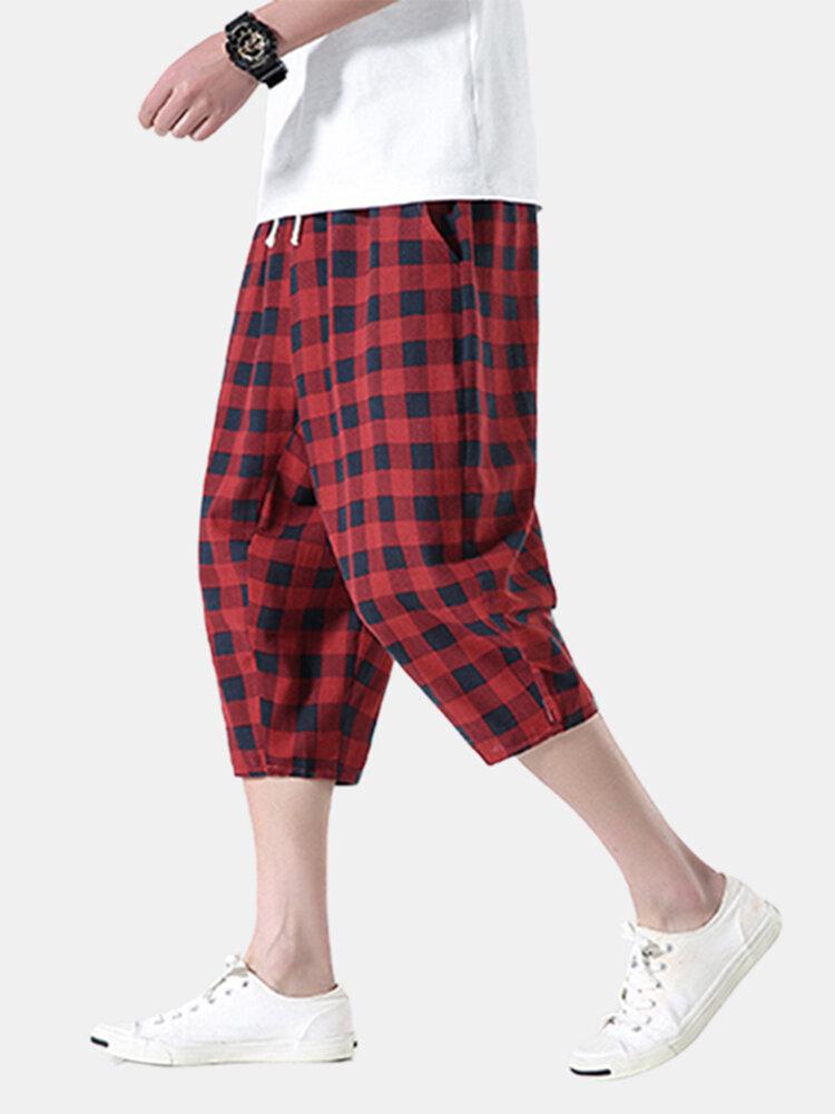 Hombres Diseño Shorts recortados con cordón transpirable de algodón a rayas y cuadros