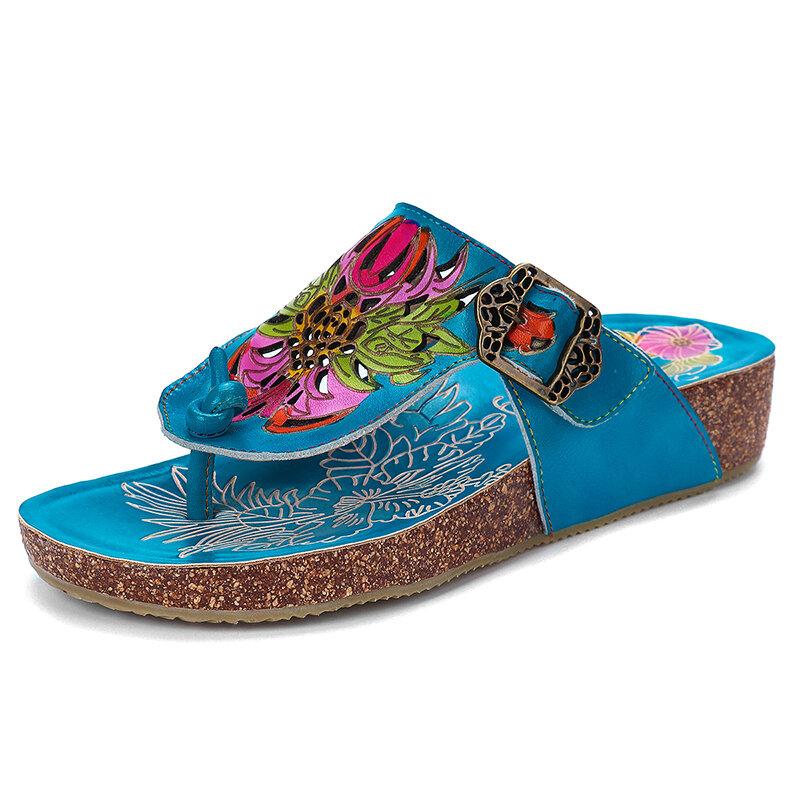 Handmade Leather Cutout Floral Adjustable Buckle Flat Thongs Sandals Flip Flops