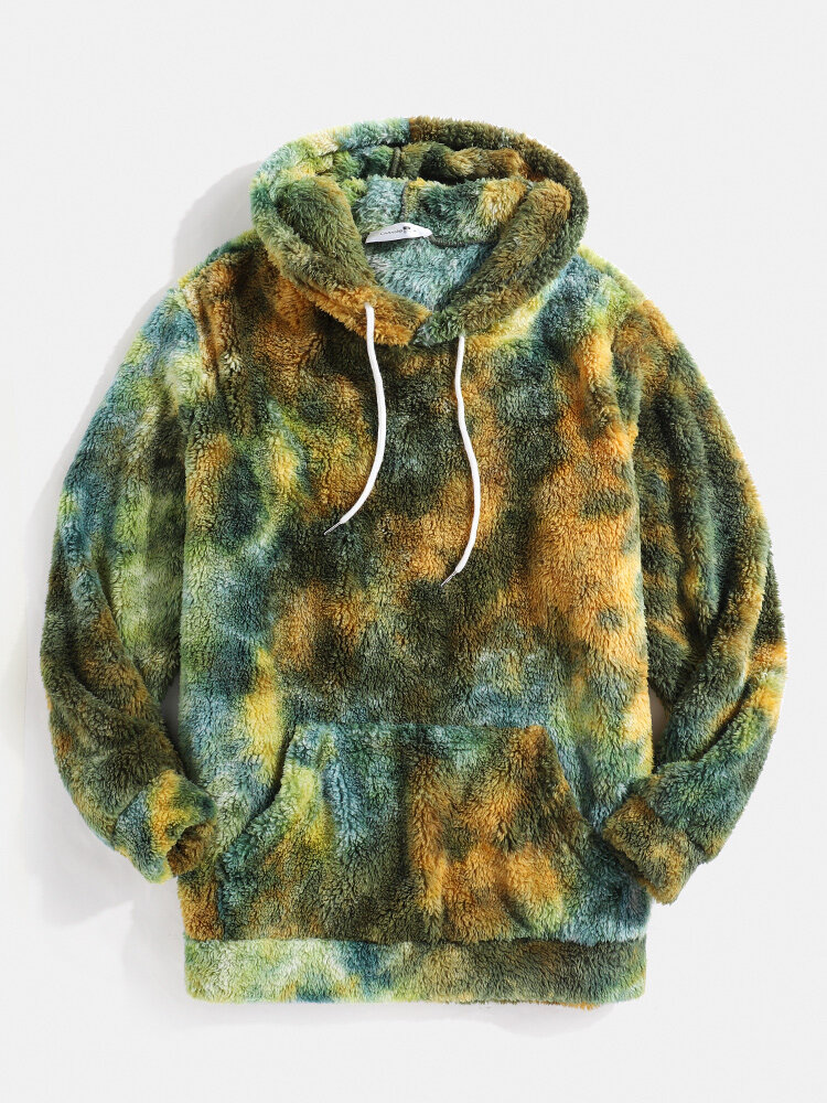 Mens Tie-Dye Fluffy Fleece Pouch Pocket Teddy Hoodie