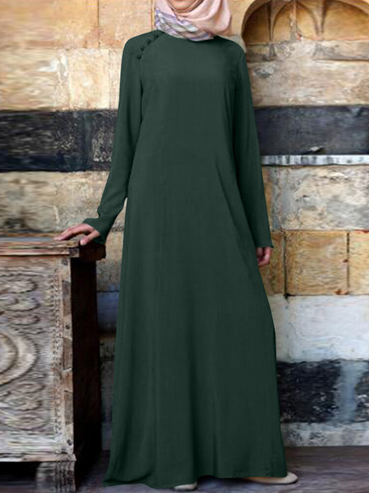 Casual Solid Color Button Long Sleeve Plus Size Maxi Dress