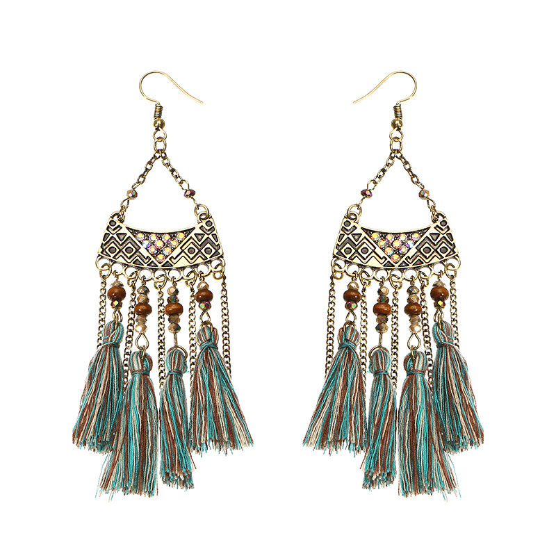 Women's Bohemian Earrings Retro Wood Bead Crystal Tassel Earrings