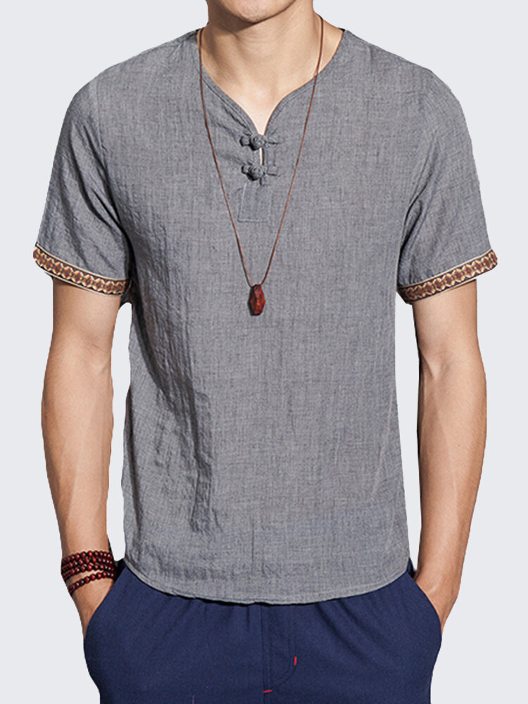 8dea8e17 Mens Cotton Linen Chinese Style Retro Solid Color Summer Archaic T Shirt  Best Online - NewChic