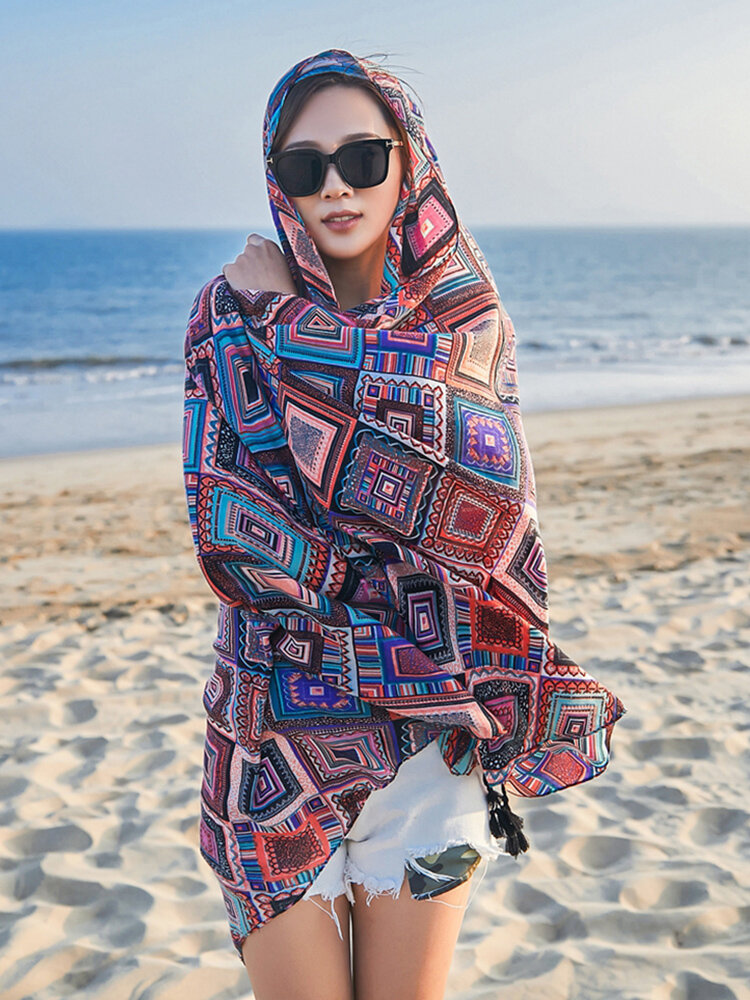 Women Summer Vintage Fashion Multipurpose Cotton And Linen Print Hanging Scarf Outdoor Beach Scarf