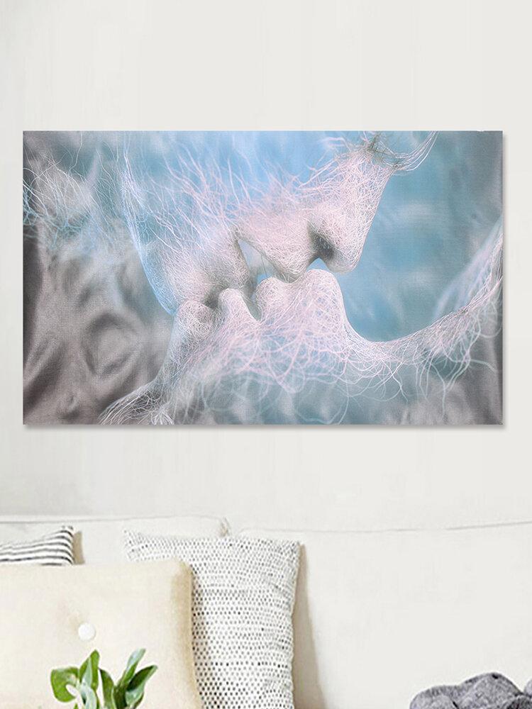 الأزرق الحب قبلة مجردة الفن قماش اللوحة جدار الفن صورة طباعة ديكور المنزل