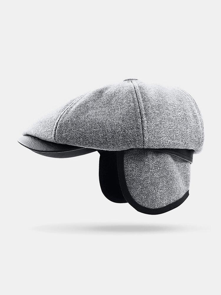 Uomo Plus Cappello ottagonale in cashmere tinta unita Cappello da esterno per il tempo libero Wild Forward Cappello piatto