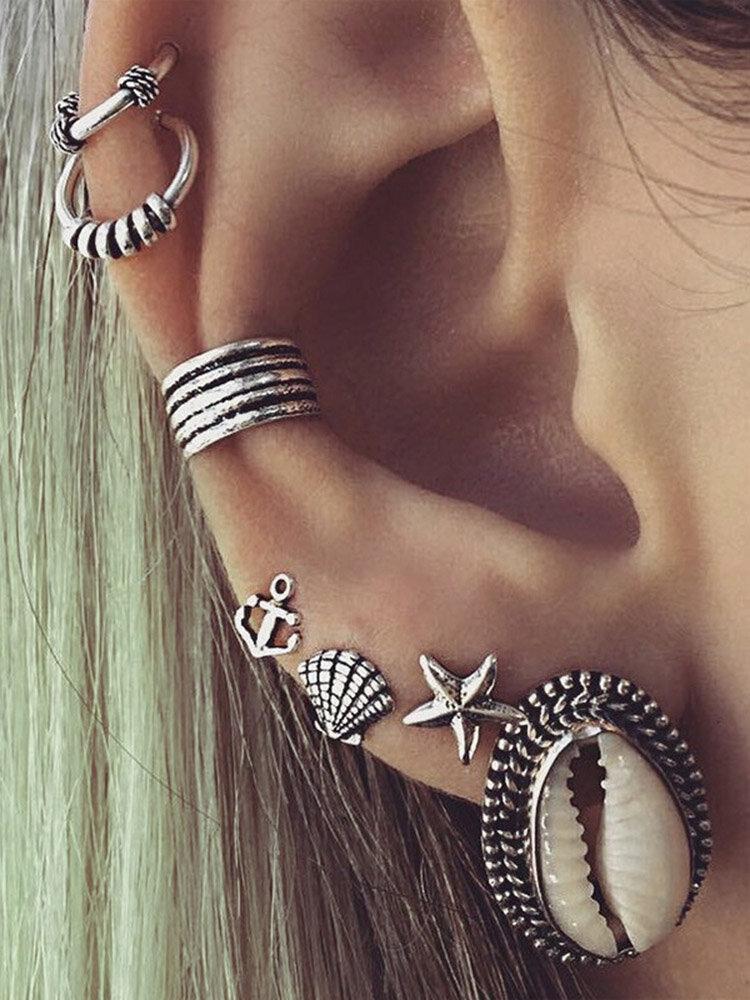 7Pcs Bohemia Shell Earring Set Starfish Anchor Gold Silver Ear Stud Women Accessories