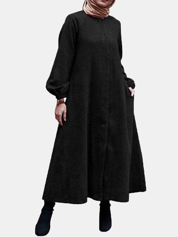 Corduroy Solid Color O-neck Long Lantern Sleeve Dress