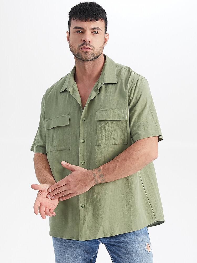 プラスサイズメンズ綿100%ダブルフラップポケットカジュアルソリッド半袖シャツ