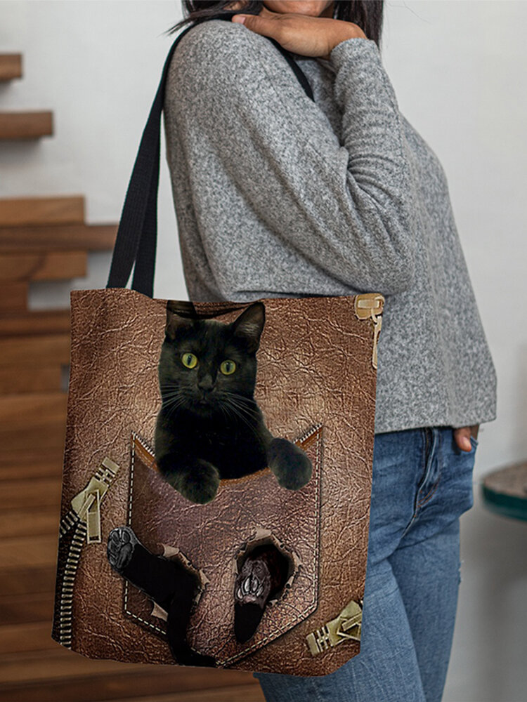 Women Felt Cat Pattern Handbag Shoulder Bag Tote
