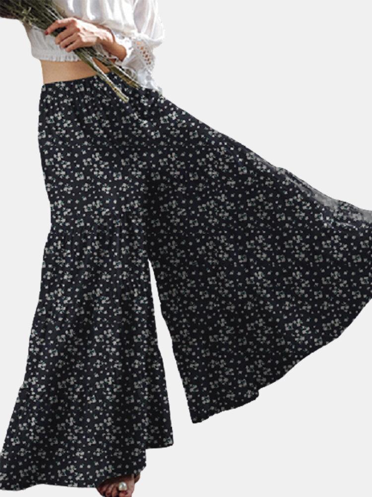 女性のための花柄プリント伸縮性ウエストカジュアルワイドレッグパンツ