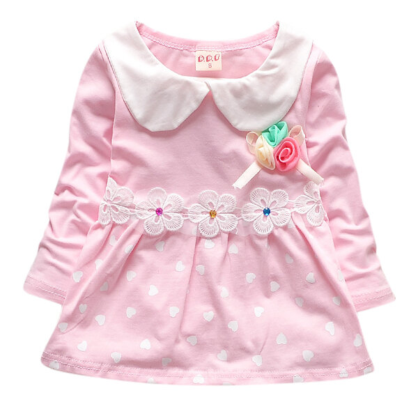 Coton confortable filles mignonnes patchwork robes à manches longues décontractées pour 0-24 m