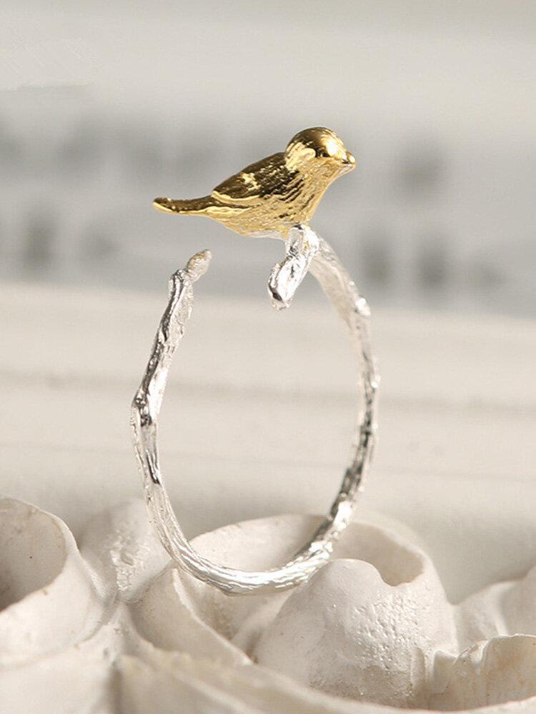 ファッション925スターリングシルバーリングかわいいゴールドバードブランチオープニング女性のための調節可能な指リング