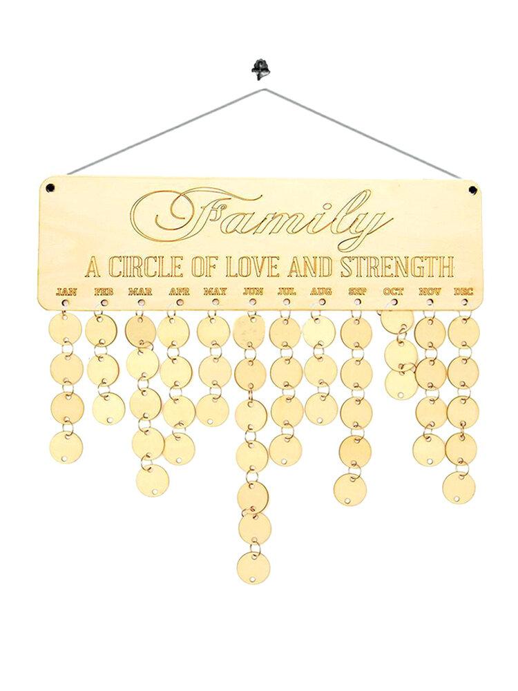 Family Birthday Celebration Reminder Wood Plaque Board Calendar Home Decoration