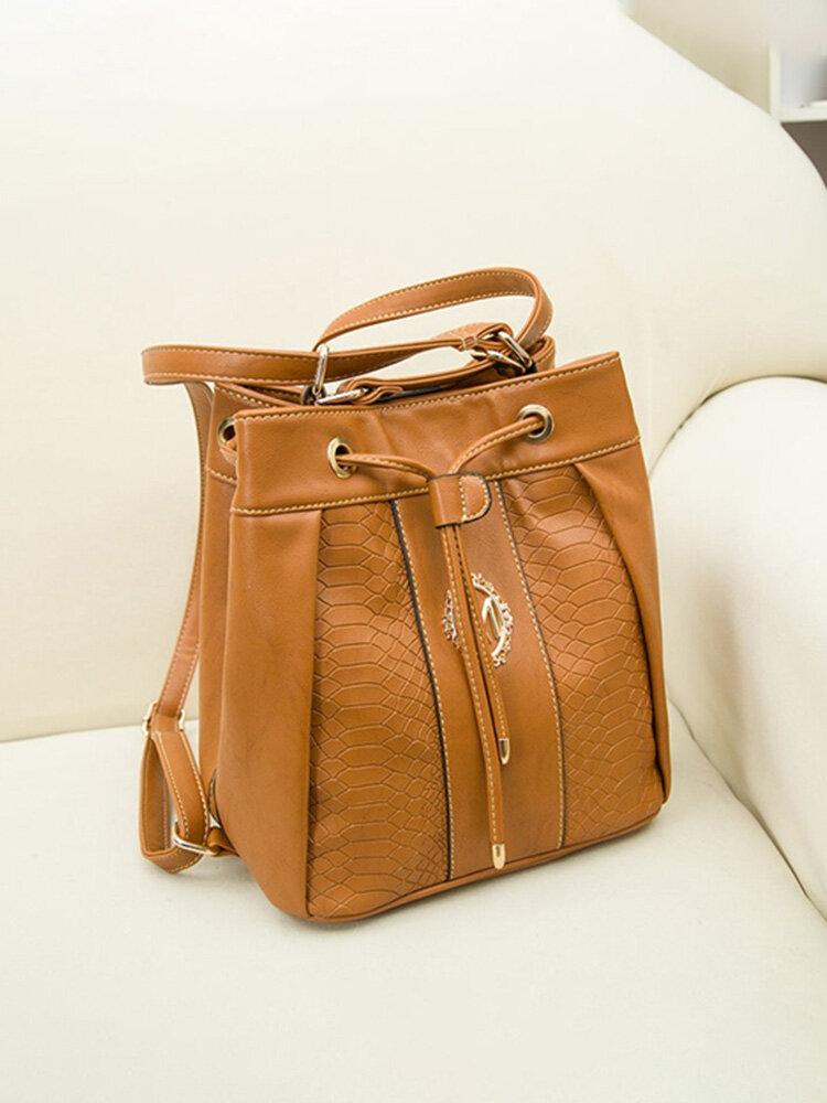 Women Multifunctional Bucket Vintage Backpack Casual Shoulder Bags Leisure Crossbody Bag