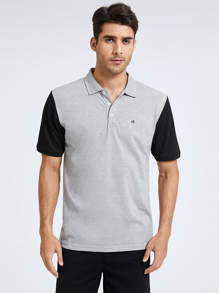 Mens Two Tone Letter Embroidery Casual Short Sleeve Golf Shirt