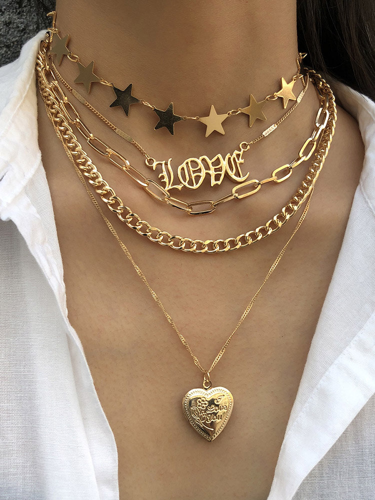 Trendy Metal Peach Heart Chain Necklace Five-pointed Star Tassel Multi-layer Necklace