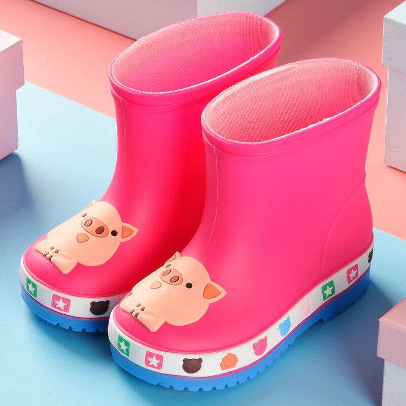 Unisex Kids Cute Cartoon Pattern Comfy Non Slip Soft Sole Easy On PVC Rain Boots
