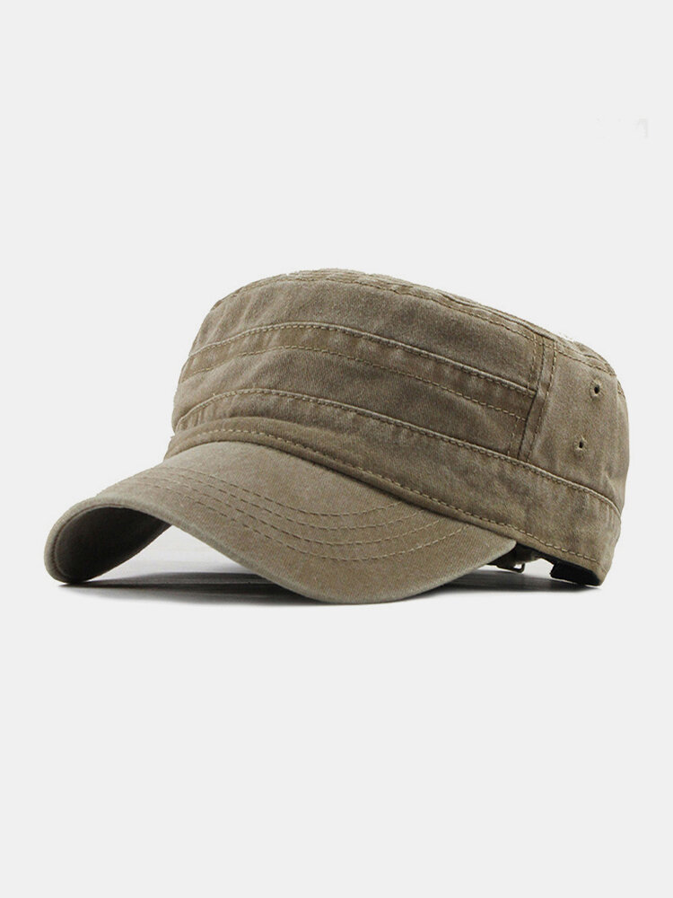 Men Cotton Solid Color Outdoor Sunshade Military Hat Flat Hat Peaked Cap
