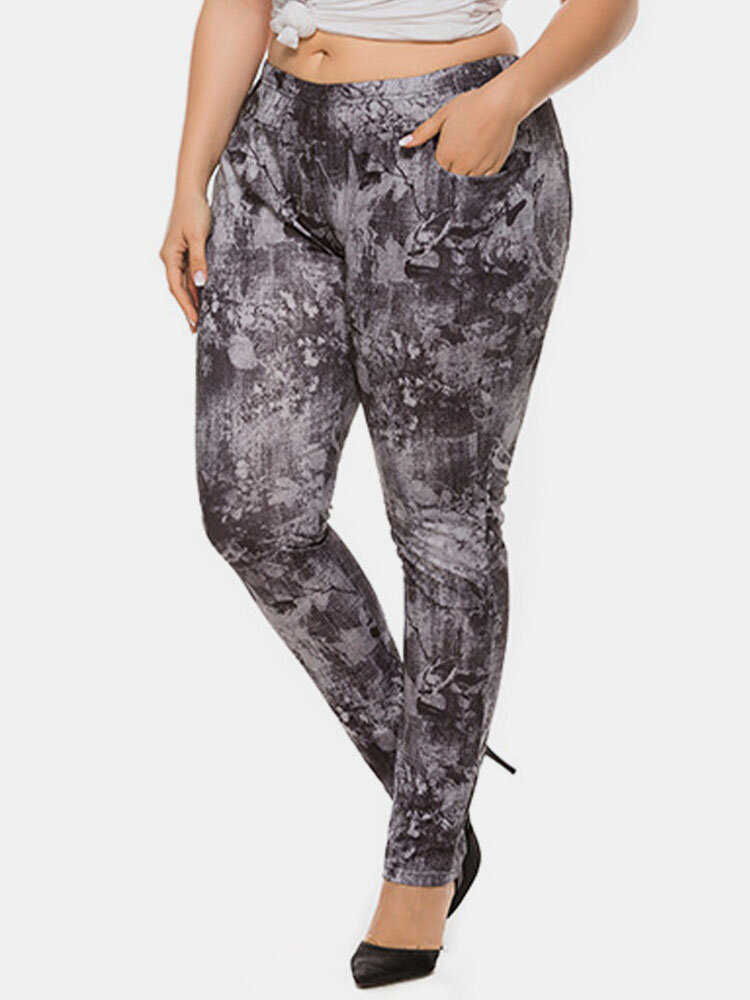 Tie Dye Print High Elasticated Plus Size Stretch Pants for Women