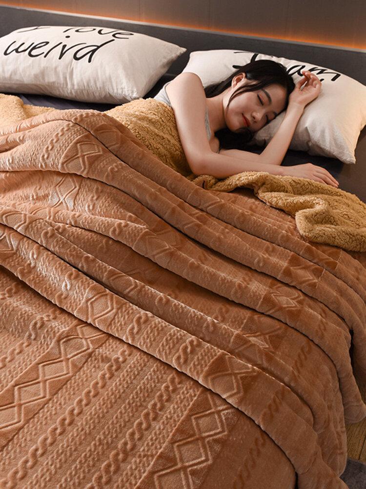 200x230cm Coperta invernale in shearling di flanella spessa con lato AB Casa Soft Biancheria da letto Queen Size