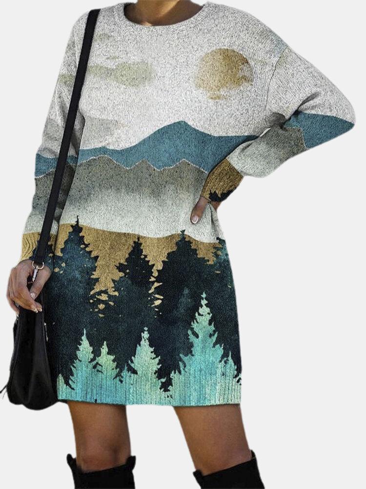 Landscape Print O-neck Long Sleeve Knitted Midi Plus Size Dress