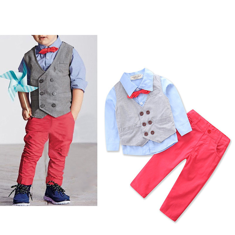 4Pcs Boys Formal Sets Bowknot Shirt + Vest Coat + Long Pants For 1Y-9Y