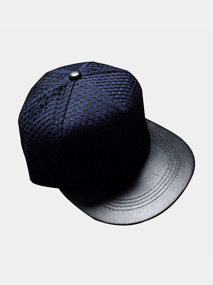 Men Women Mesh Leather Baseball Cap Flat Brimmed Hip-hop Hat