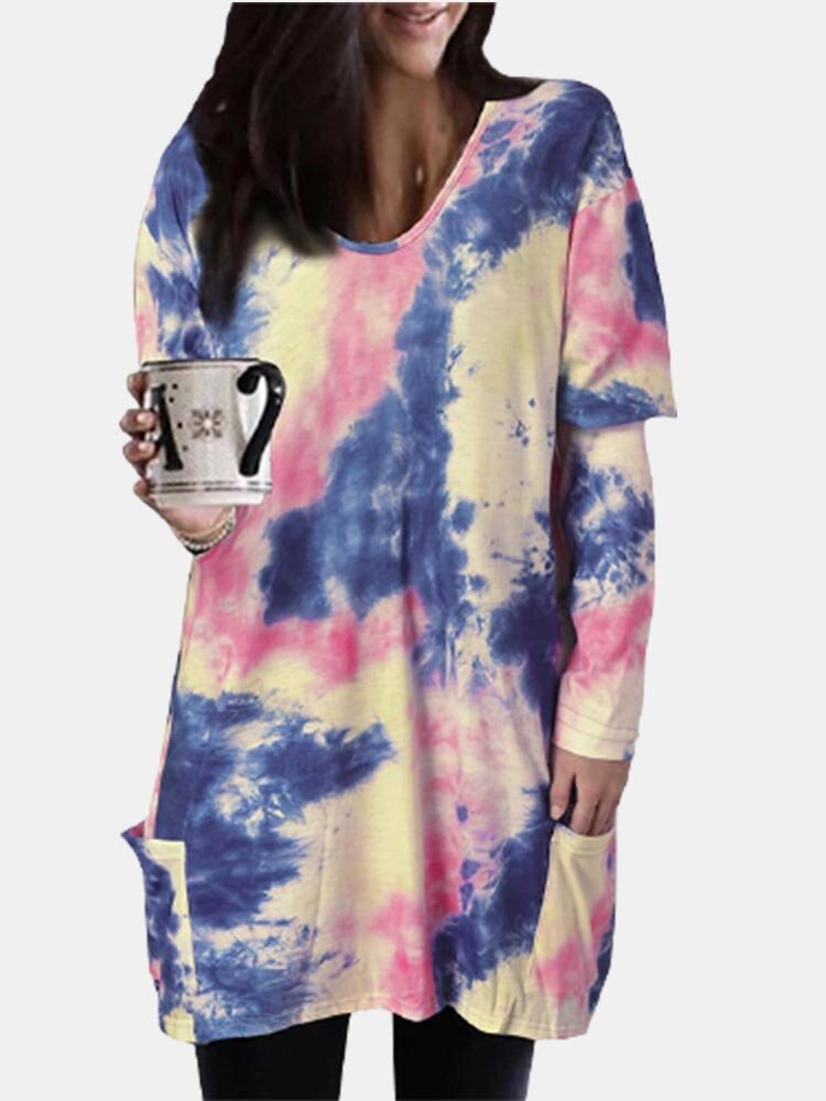 Tie Dye O-neck Long Sleeve Casual Plus Size Blouse With Pockets