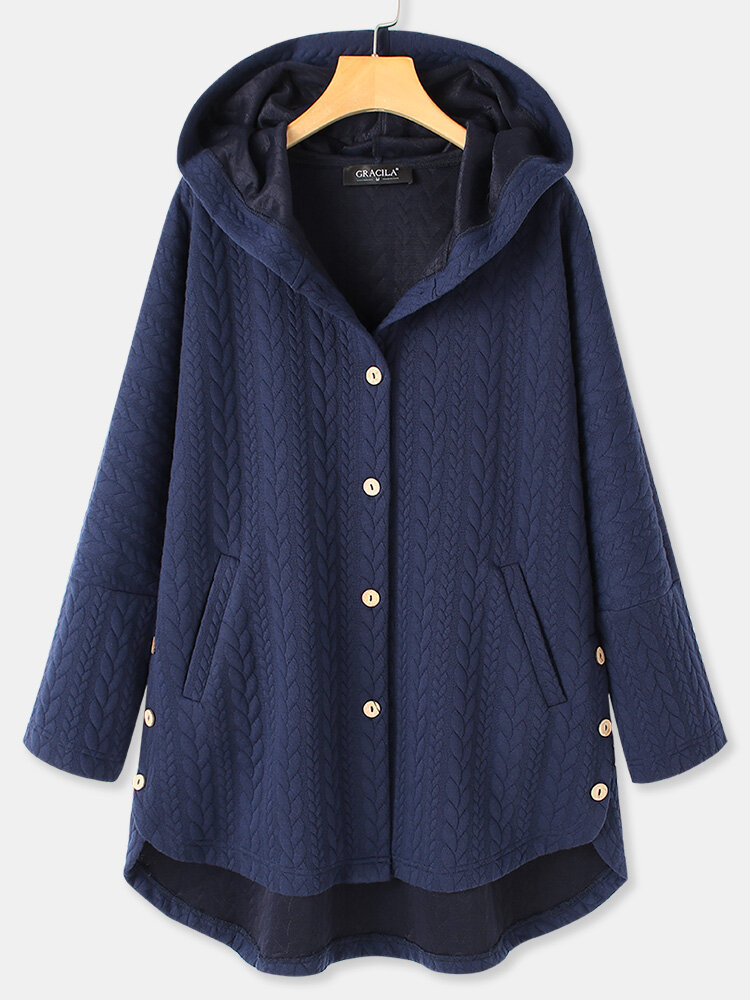 Solid Color Long Sleeve Hooded Jacquard Coat For Women