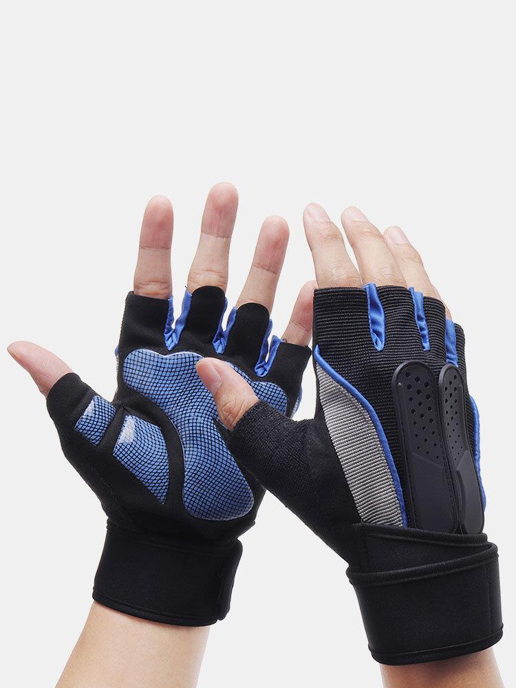 Men Sports Fitness Breathable Sweat Thin Soft Anti-Slip Weightlight Half Finger Gloves