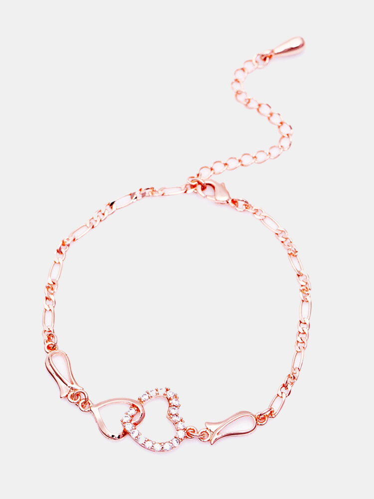 Fashion Anklets Accessories Double Zircon Hearts Copper Gold Plated Chain Anklets Jewelry for Women