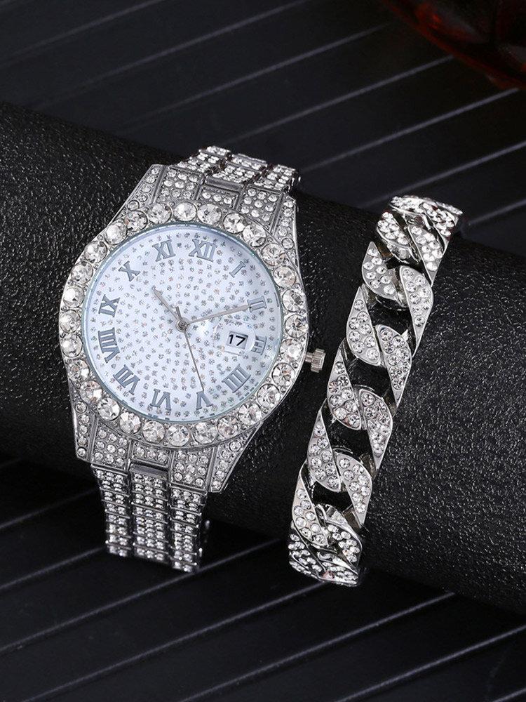 2 Pcs/Set Alloy Stainless Steel Men Women Business Watch Decorated Pointer Calendar Quartz Watch Bracelet
