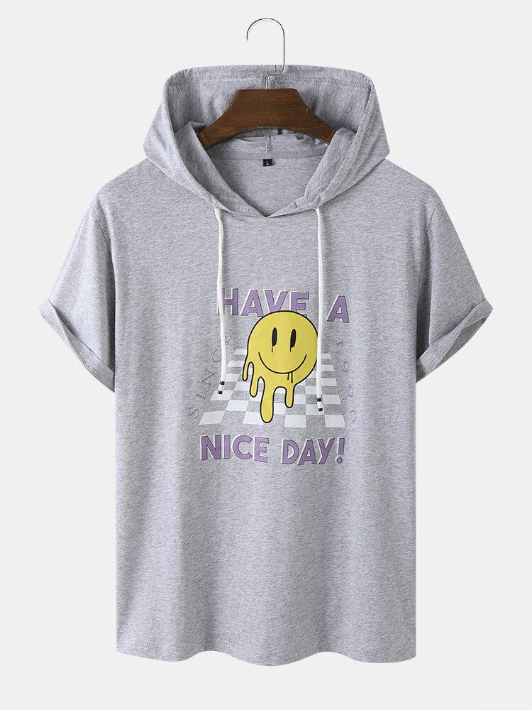 Mens Checkered Smile Print Short Sleeve Hooded T-Shirt
