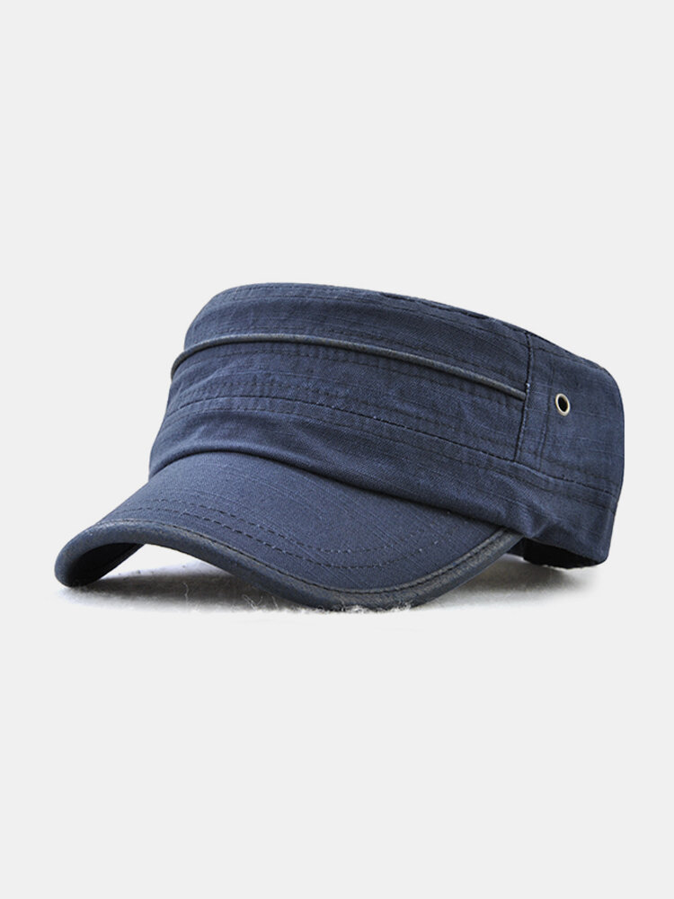 Mens Vintage Summer Sunshade Brim Flat Cap Breathable Washed Cotton Sun Hat Outdoor Sports Cap