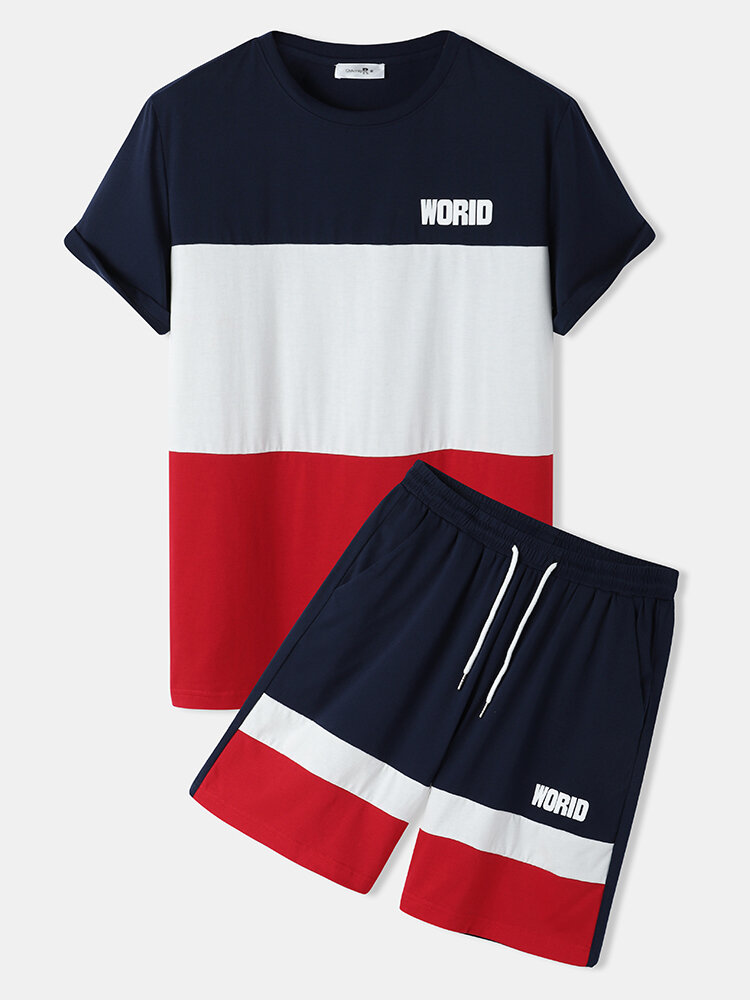 Mens Tricolor Patchwork Letter Print Shorts Sleeve Two Piece Casual Outfits