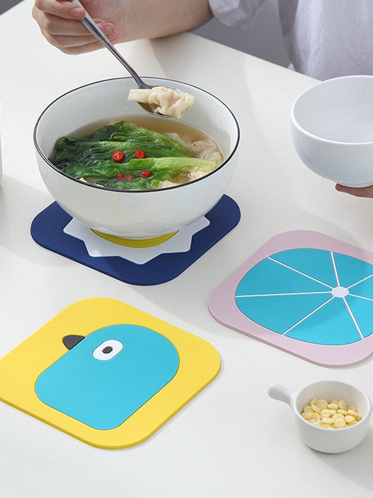 Silicone Cartoon Insulation Pad Anti-scalding Non-slip Pot Mat Bowl Mat INS Style
