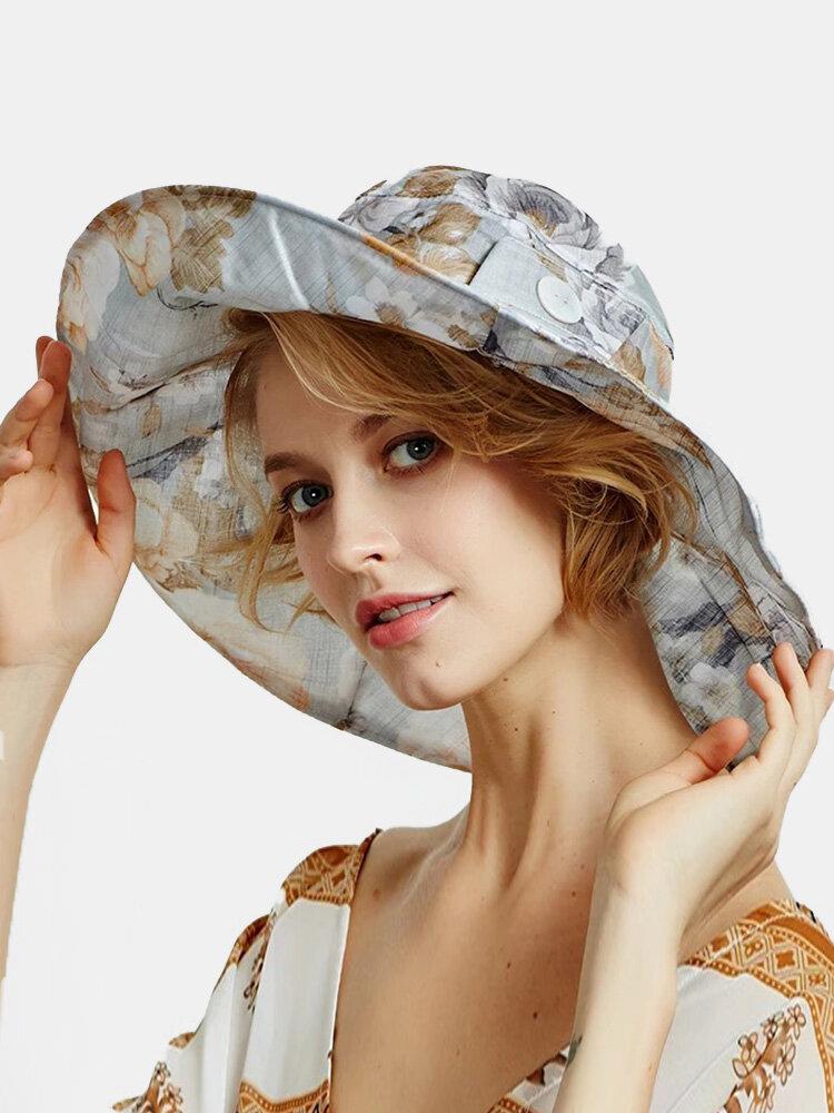 女性ダクロンオーバーレイキャラコプリントボタンデコレーションビッグブリム通気性サンシェード折りたたみ式バケットハット