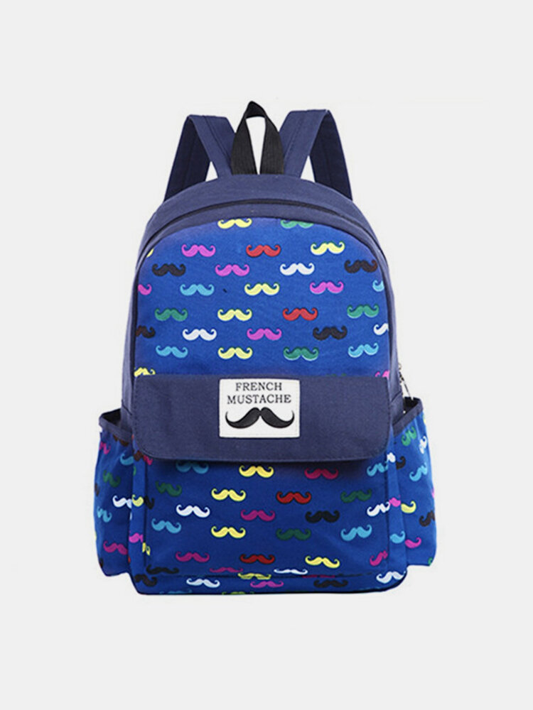 Fashion Women Beard Pattern Canvas Backpack