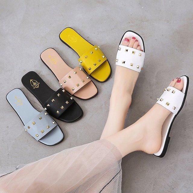 Net Red Sandals And Slippers Women's Season New Wear A Word Drag Flat Bottom Wild Liu Nails Shoes Women's Tide