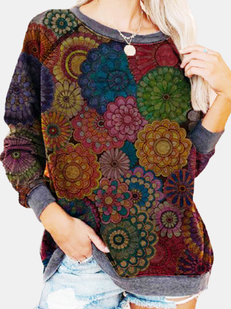 Vintage Floral Ethnic Printed Long Sleeve O-neck Pullover Sweatshirt For Women