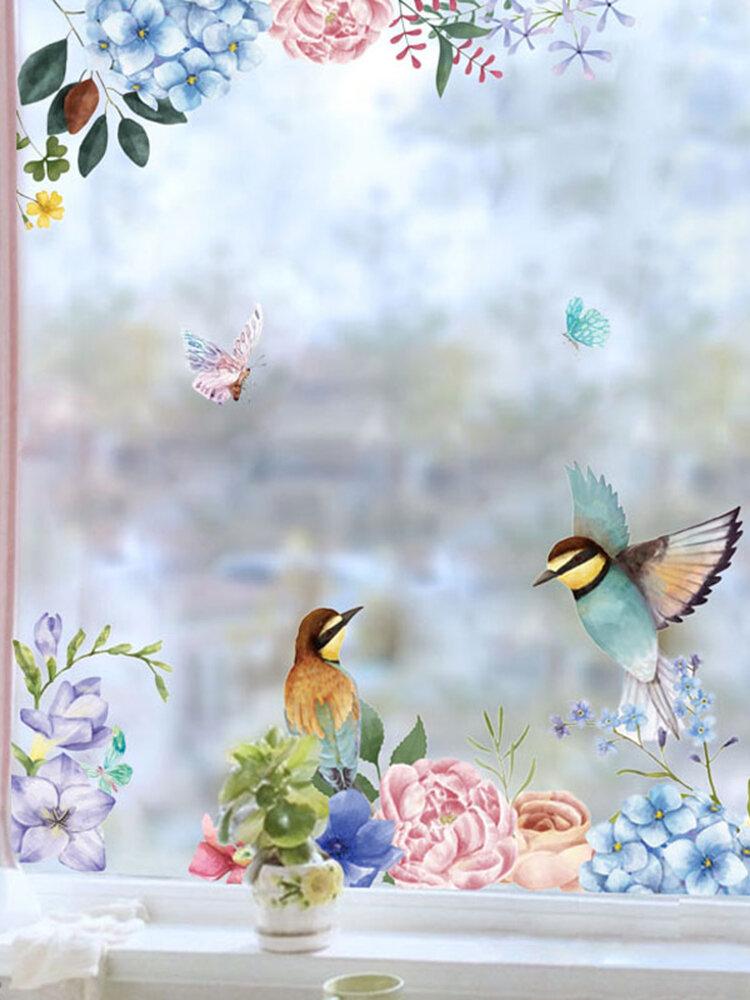 Miico 2PCS Pegatinas de pared de impresión de flores y pájaros Pegatinas de vidrio Pegatinas de decoración del hogar DIY Pegatina