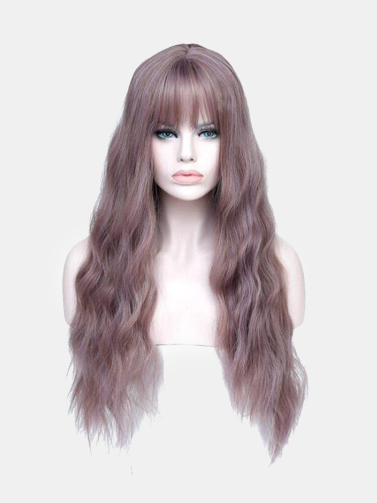 Neat Bangs Long Curly Hair Temperament Solid Color Fluffy Big Wave Chemical Fiber Hair Wig
