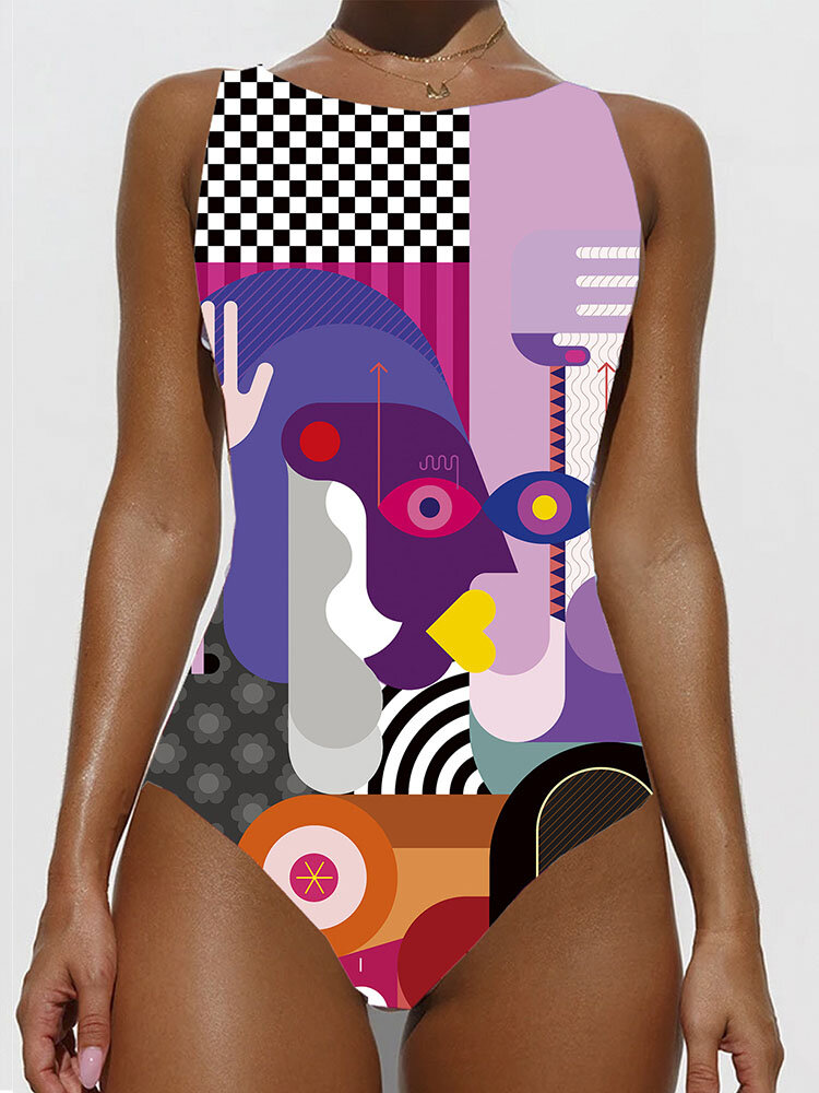Women Colorful Abstract Figure Print High Neck Slimming One Piece Swimwear