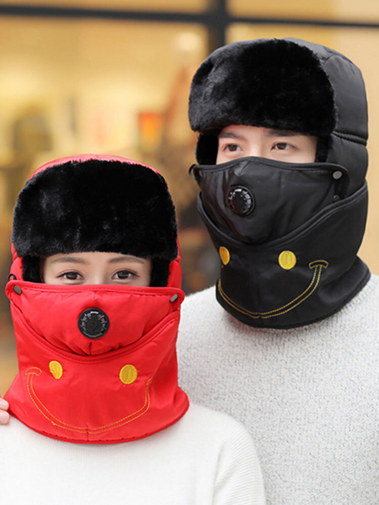 Mens Womens Winter Warm Lei Feng Hat Cotton Fleece Thick Windproof Outdoor Skiing Face Mask Cap